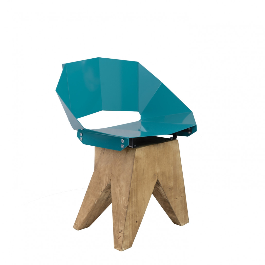 Deep green steel chair on wooden base KNIGHT FST0314