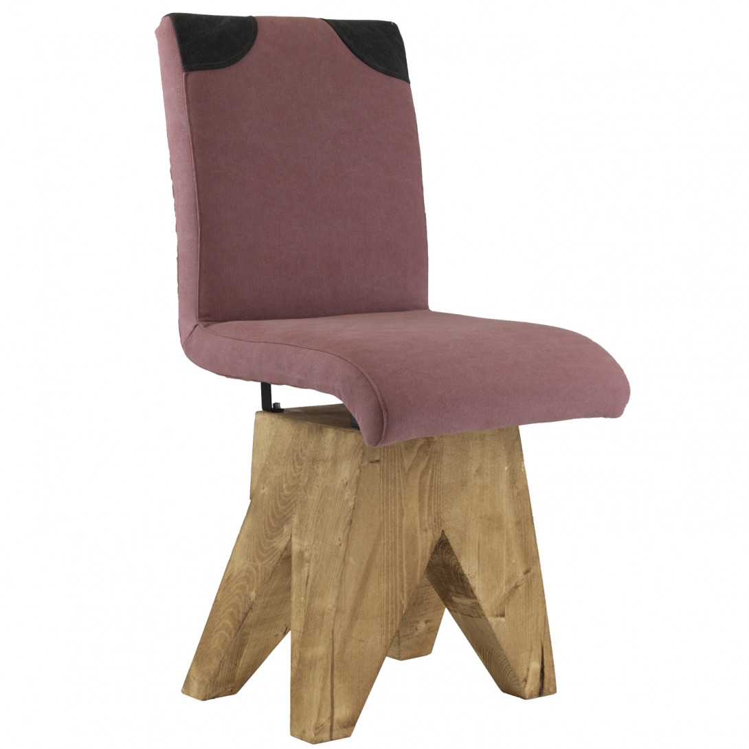 Chair on wooden base PATCHY pink/black FST0271