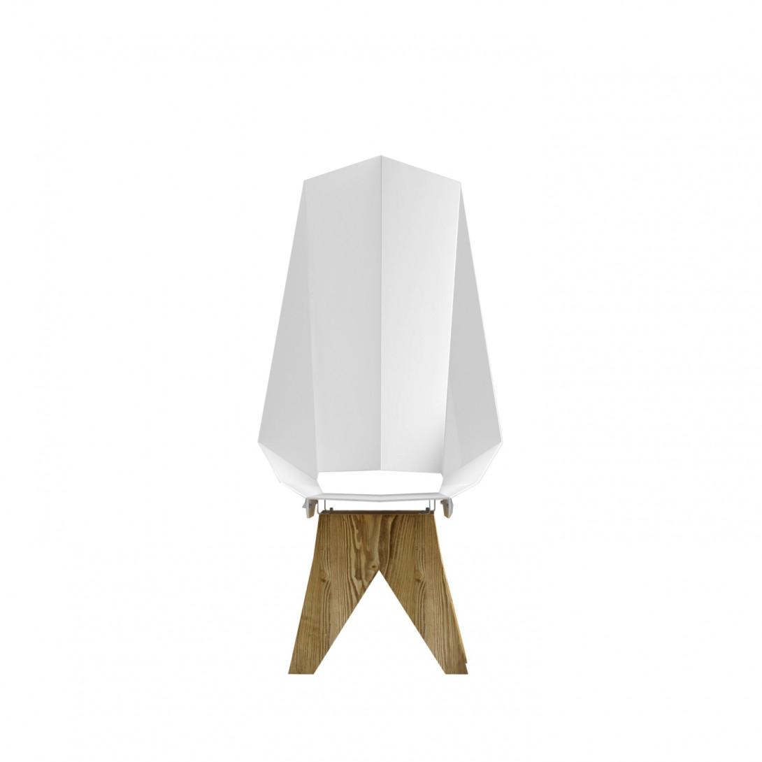 White steel chair on wooden base KNIGHT THRONE FST0421