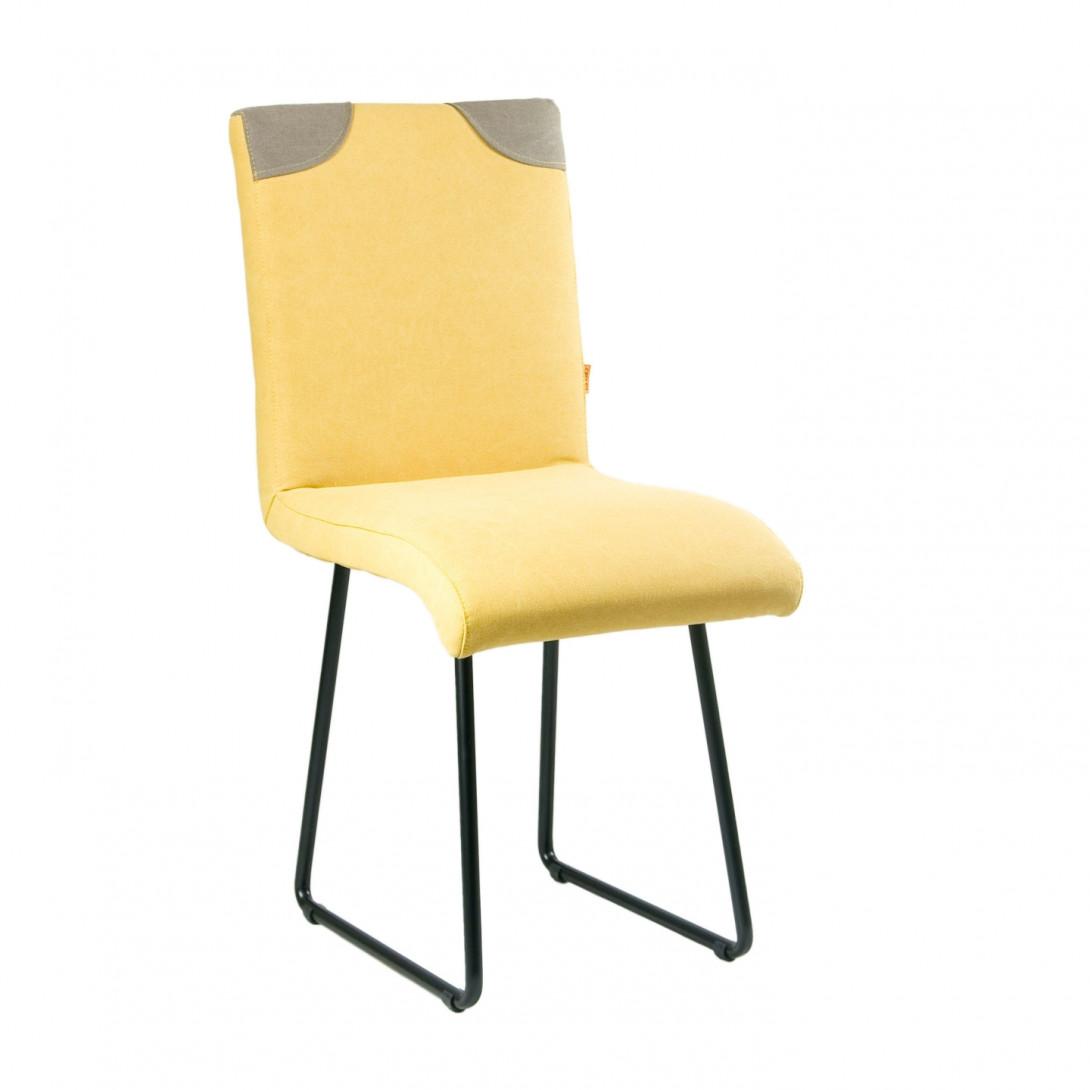Krzesło na czarnych stalowych płozach PATCHY żółty/szary FST0211 - gie el