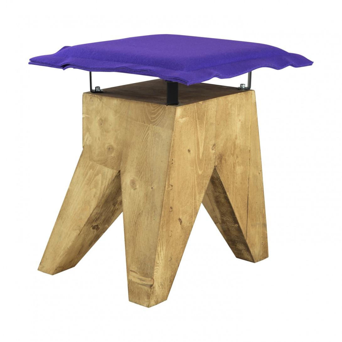 Stołek LOW z fioletowym filcowym siedziskiem FST0017 - 2 - gie el