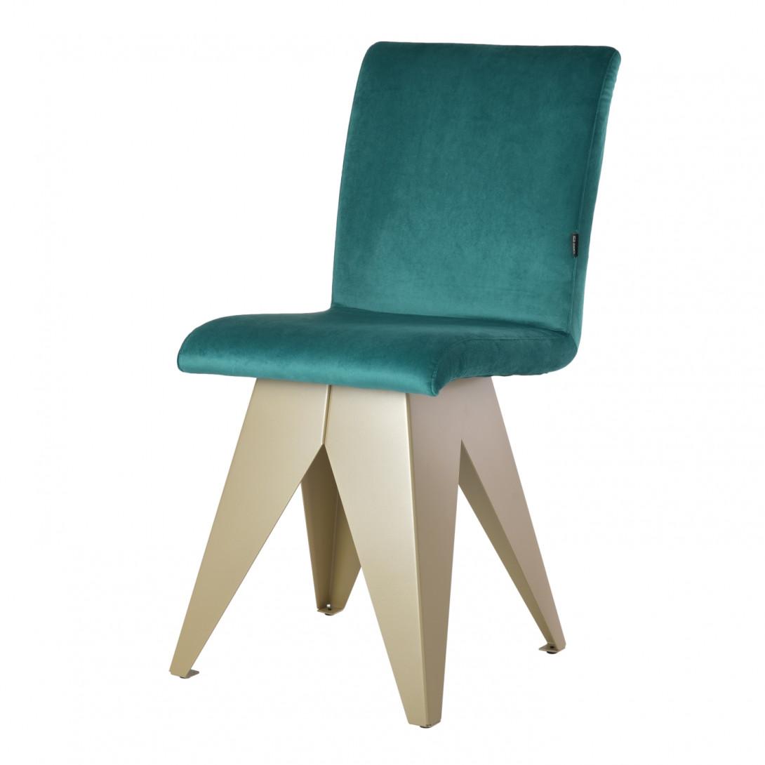 Krzesło na szampańskiej podstawie JAFAR turkusowe FST0415