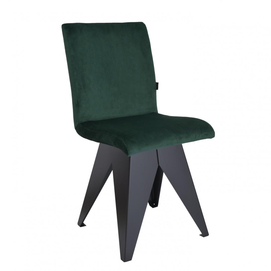 Krzesło na czarnej podstawie JAFAR ciemno zielone FST0411