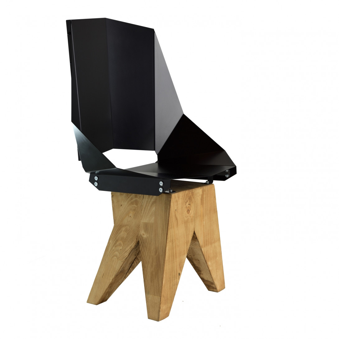 Black steel chair on wooden base KNIGHT big FST0320