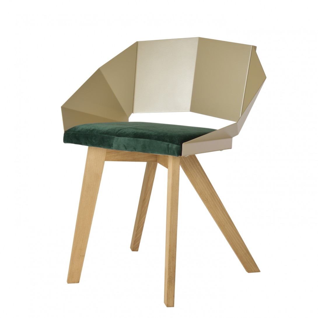 Chair KNIGHT on wooden legs champagne green FST0383