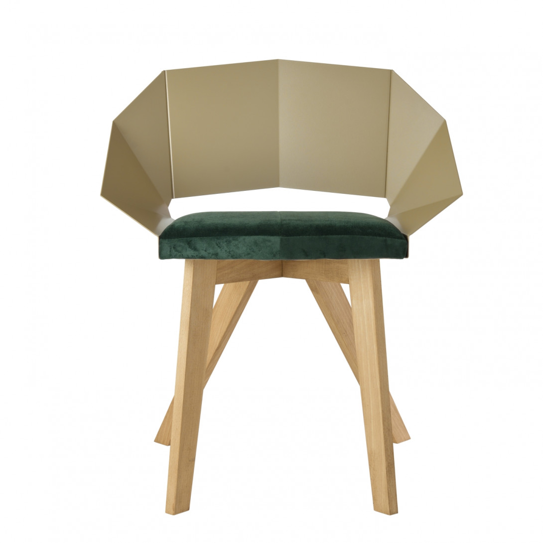 Chair KNIGHT on wooden legs champagne green FST0383 - 1 - gie el