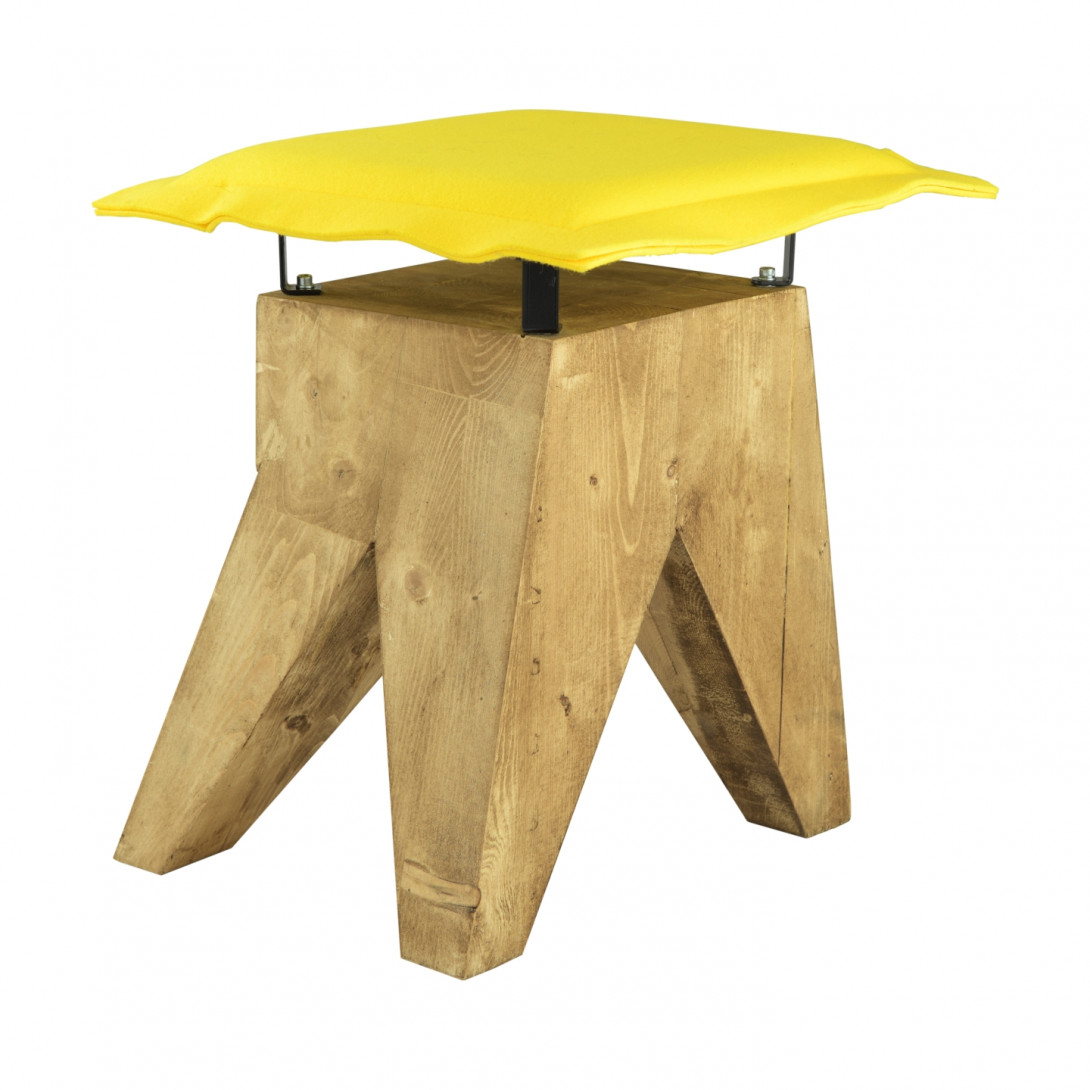 Stool LOW with yellow felt seat FST0015 - 1