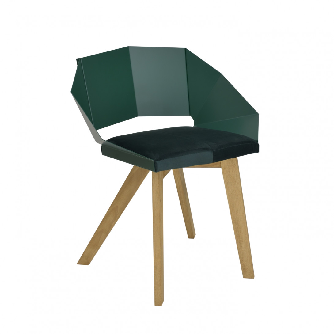 KNIGHT chair on wooden legs green FST0386