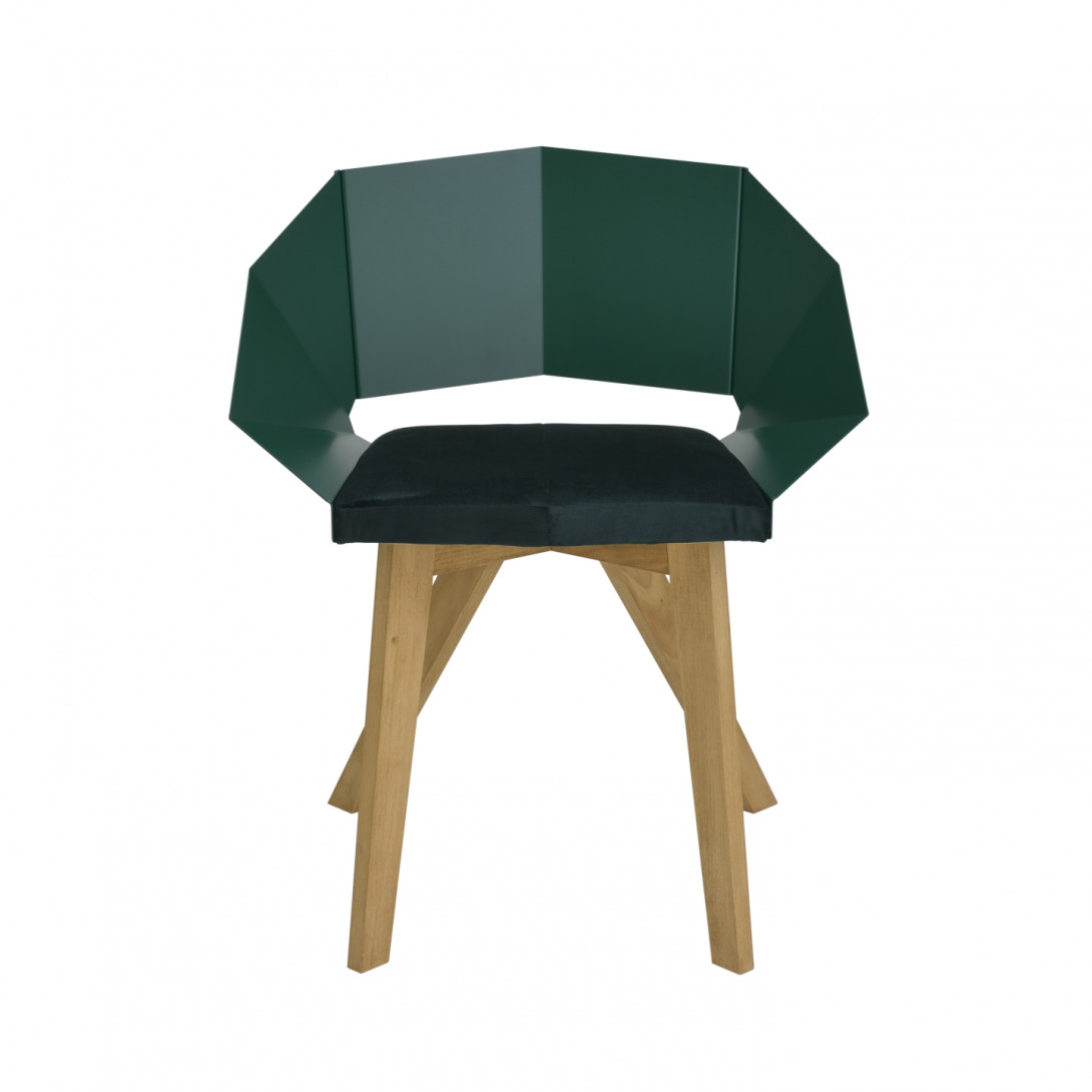 KNIGHT chair on wooden legs green FST0386 - 1