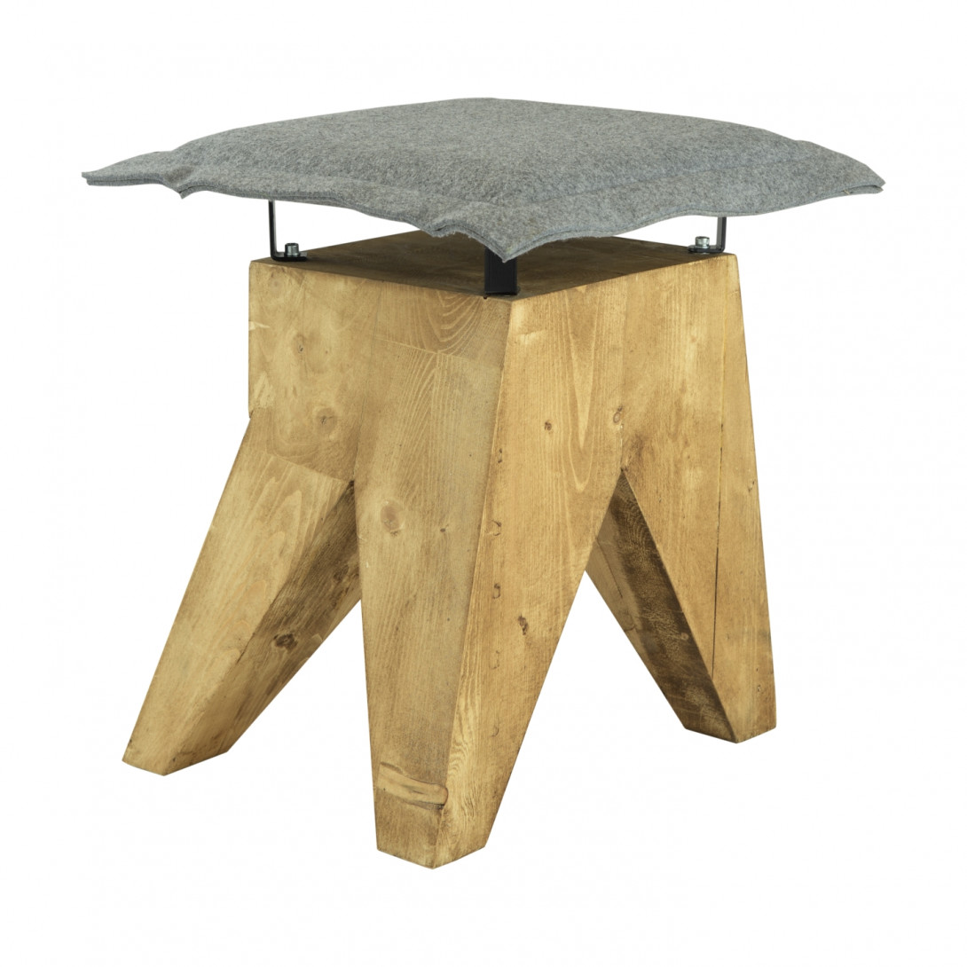 Stool LOW with gray felt seat FST0018