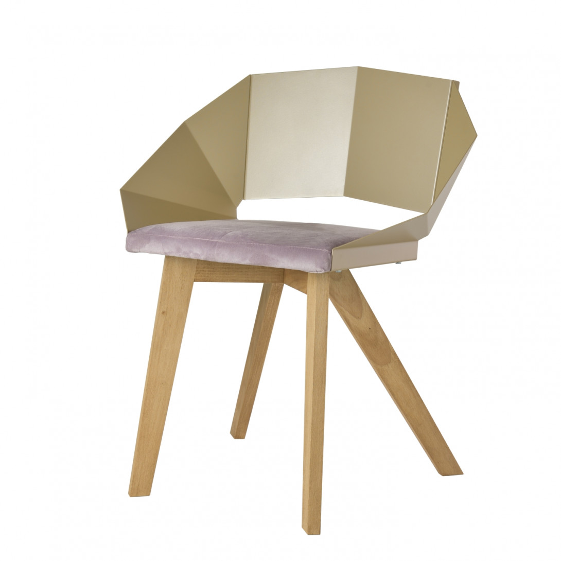Chair KNIGHT on wooden legs pink&champagne FST0382