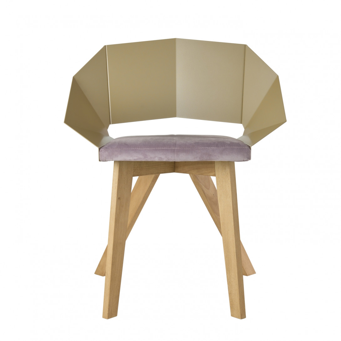 Chair KNIGHT on wooden legs pink&champagne FST0382 - 1 - gie el