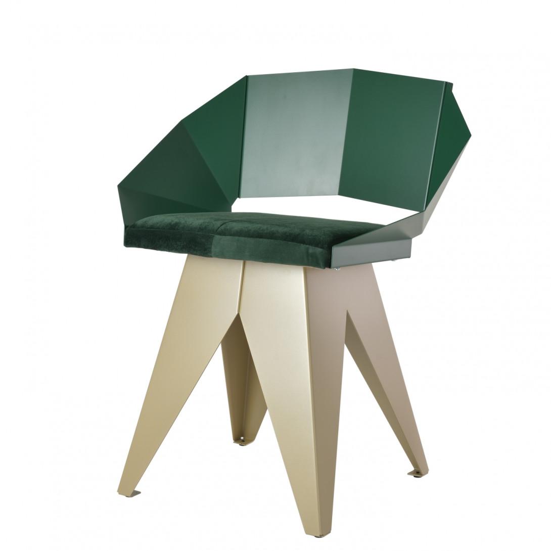 KNIGHT steel chair in green&champagne FST0398