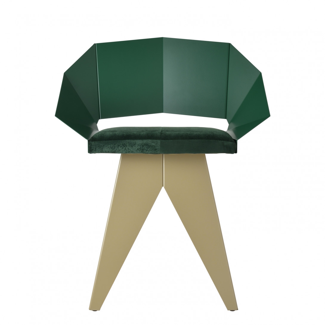 KNIGHT steel chair in green&champagne FST0398 - 1 - gie el