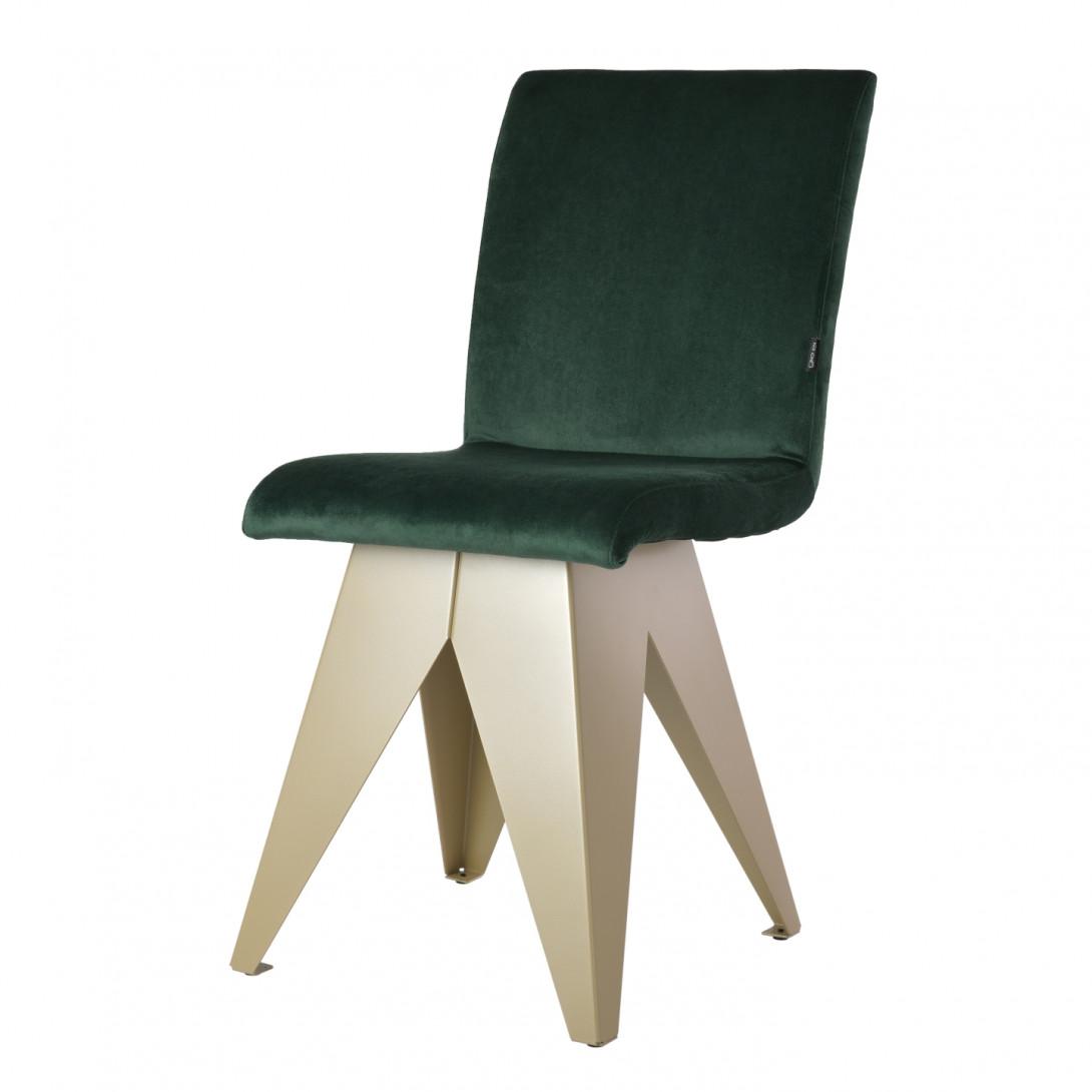 Krzesło na szampańskiej podstawie JAFAR ciemno zielone FST0414