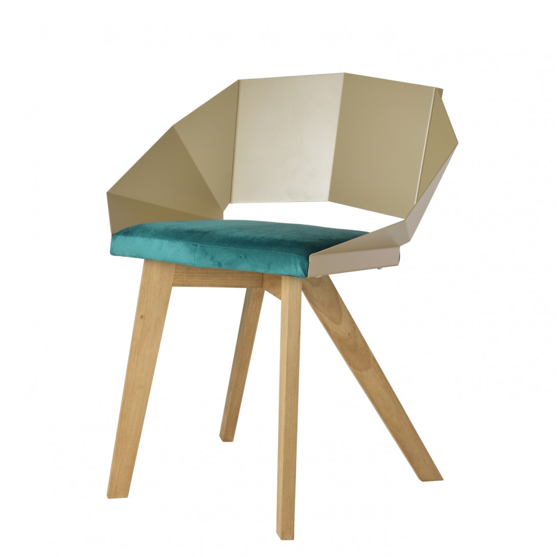 Chair KNIGHT on wooden legs champagne turquoise FST0384