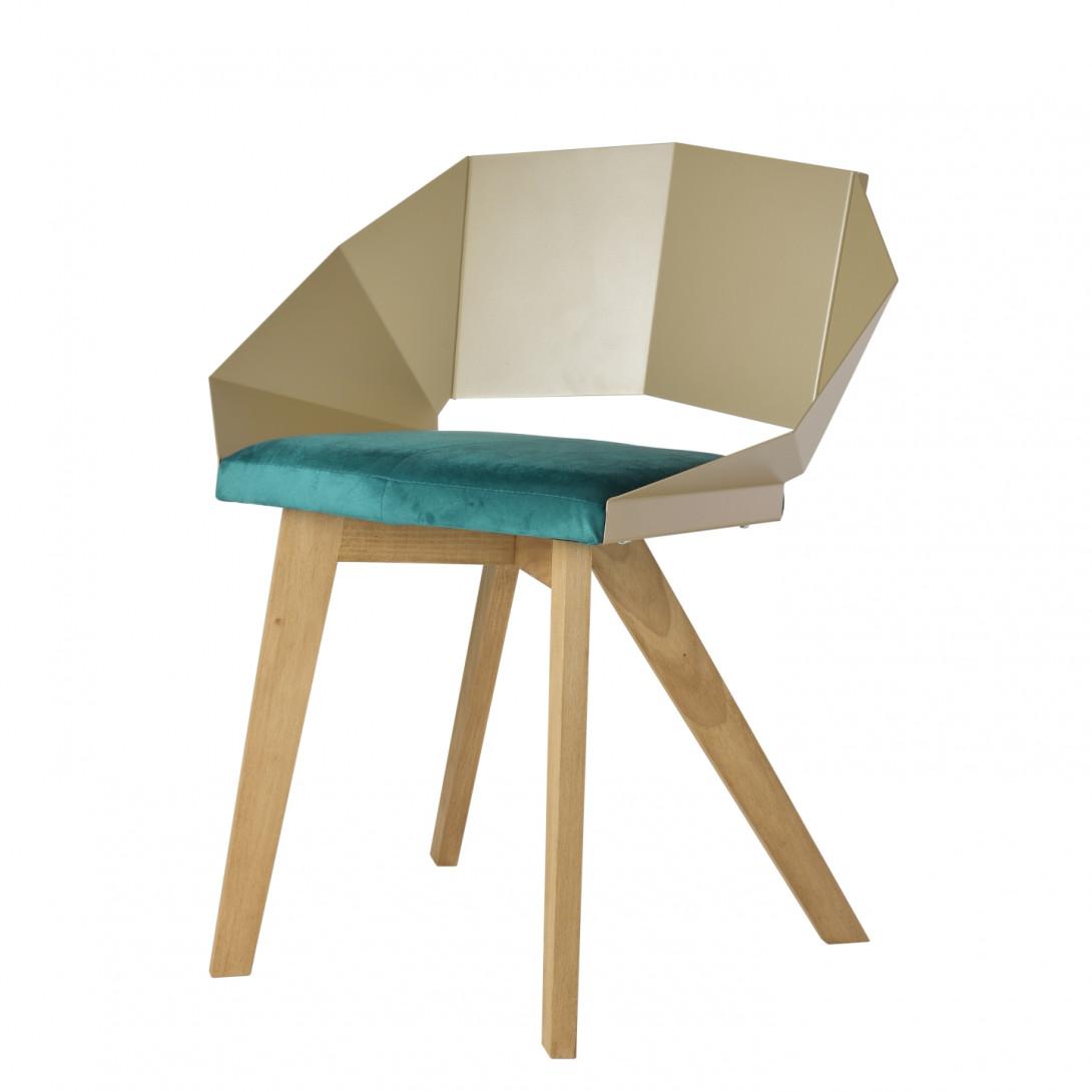 Krzesło KNIGHT na drewnianych nogach szampańsko turkusowe FST0384