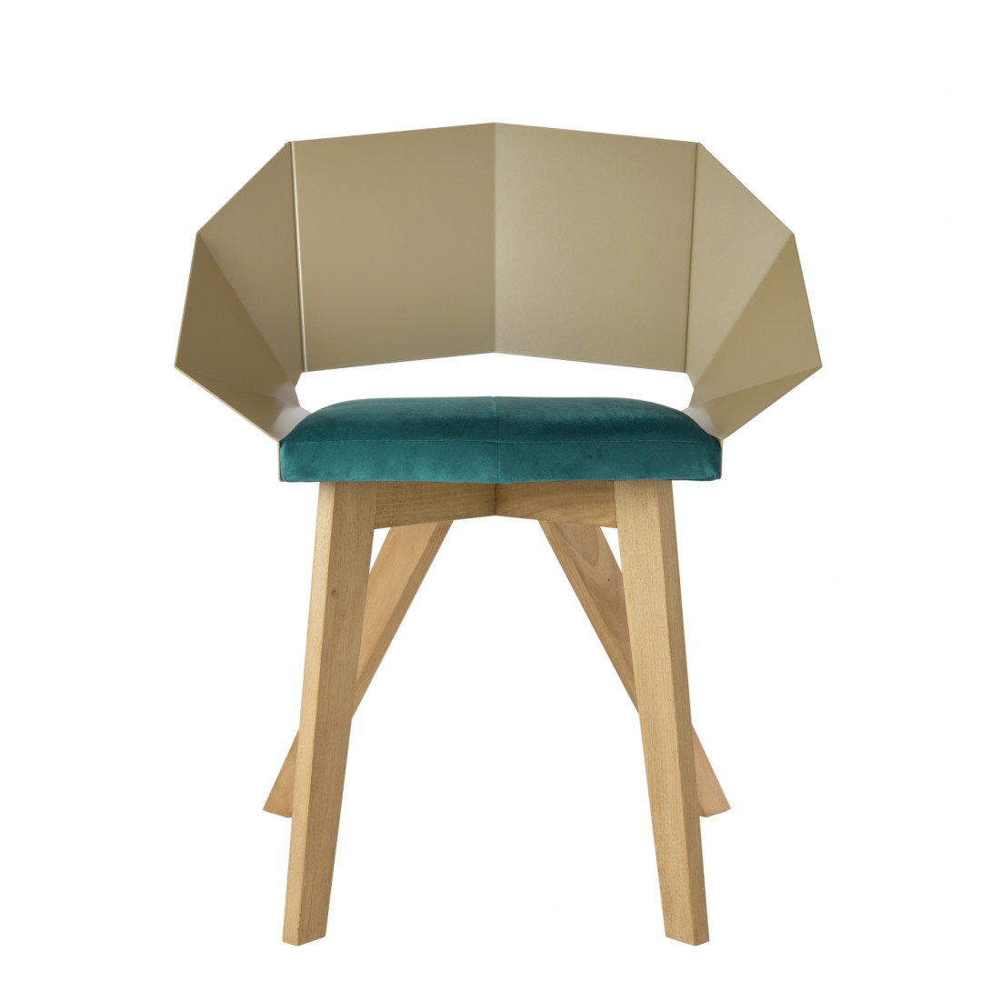 Chair KNIGHT on wooden legs champagne turquoise FST0384 - 1
