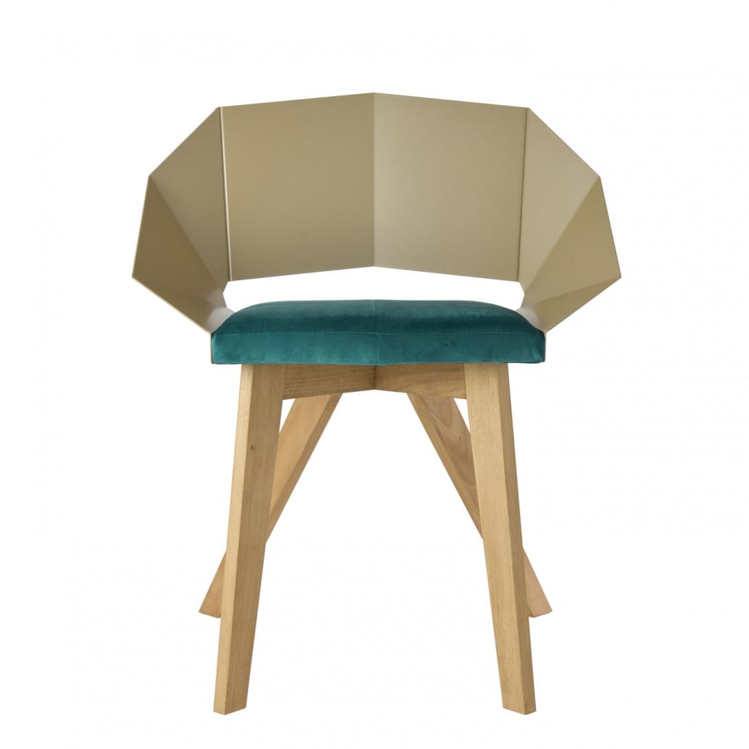 Krzesło KNIGHT na drewnianych nogach szampańsko turkusowe FST0384 - 1 - gie el