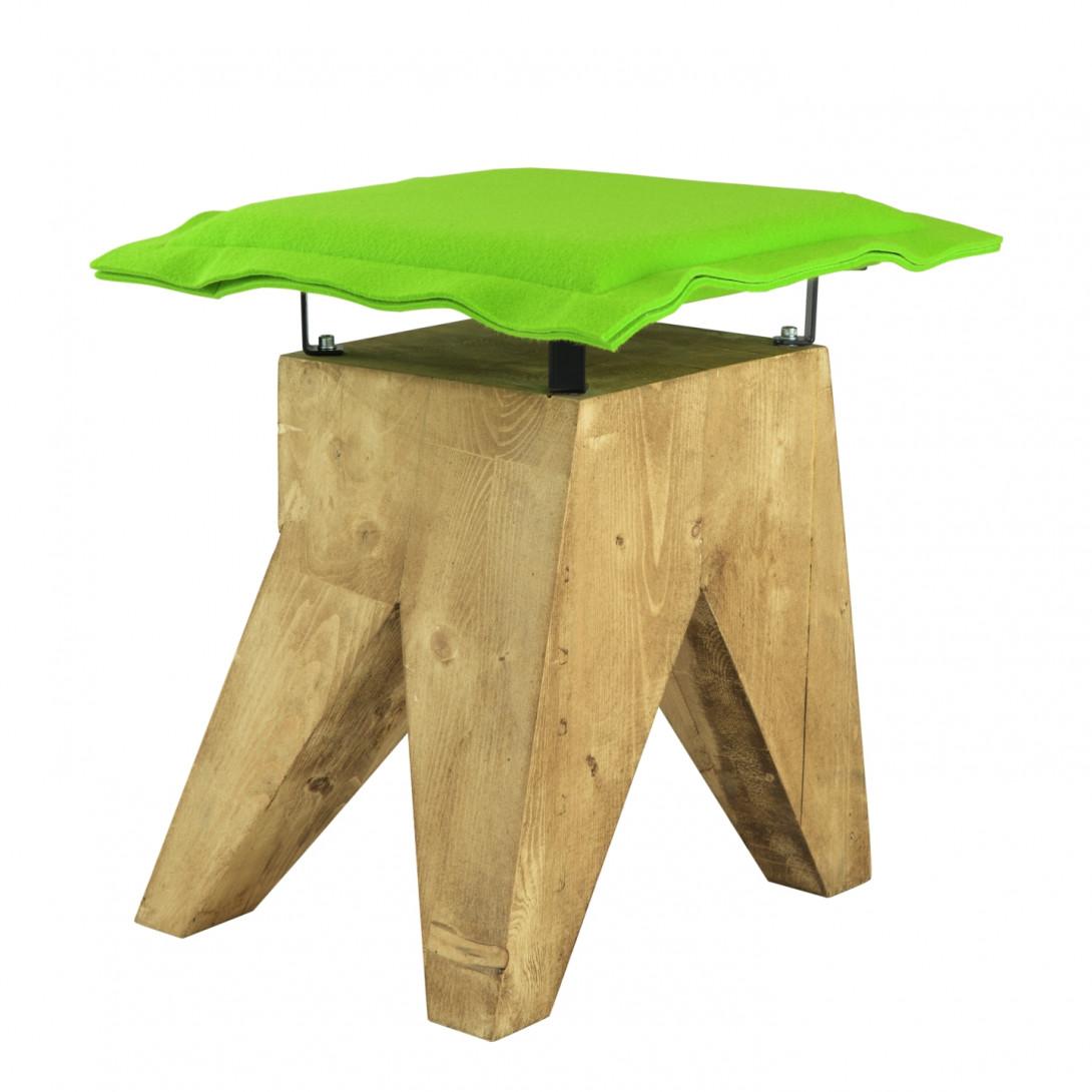 Stołek LOW z zielonym filcowym siedziskiem FST0016 - 2