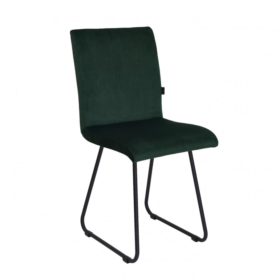 Krzesło na czarnych płozach JASMINE ciemno zielone FST0401 - gie el