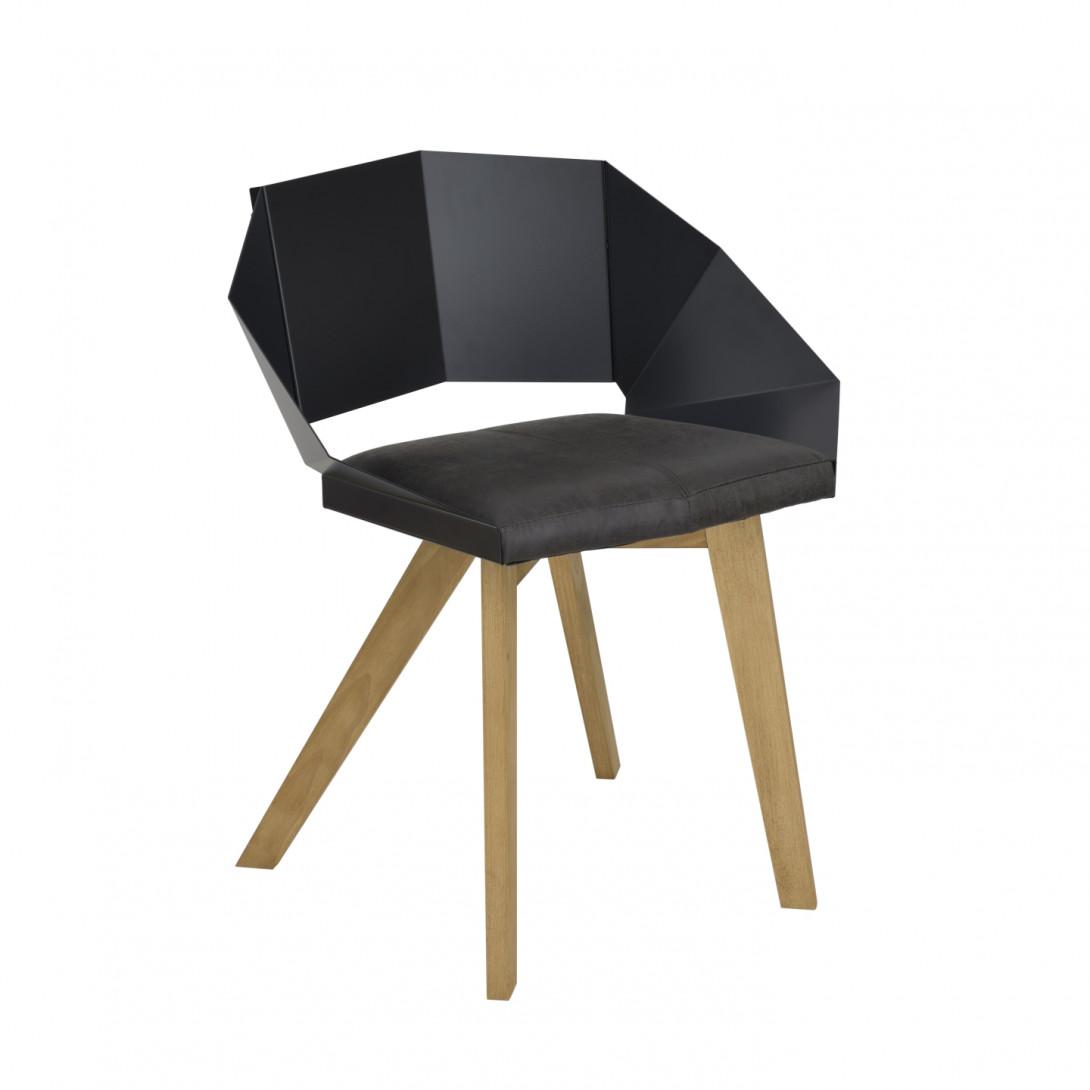 Krzesło KNIGHT na drewnianych nogach czarne FST0381