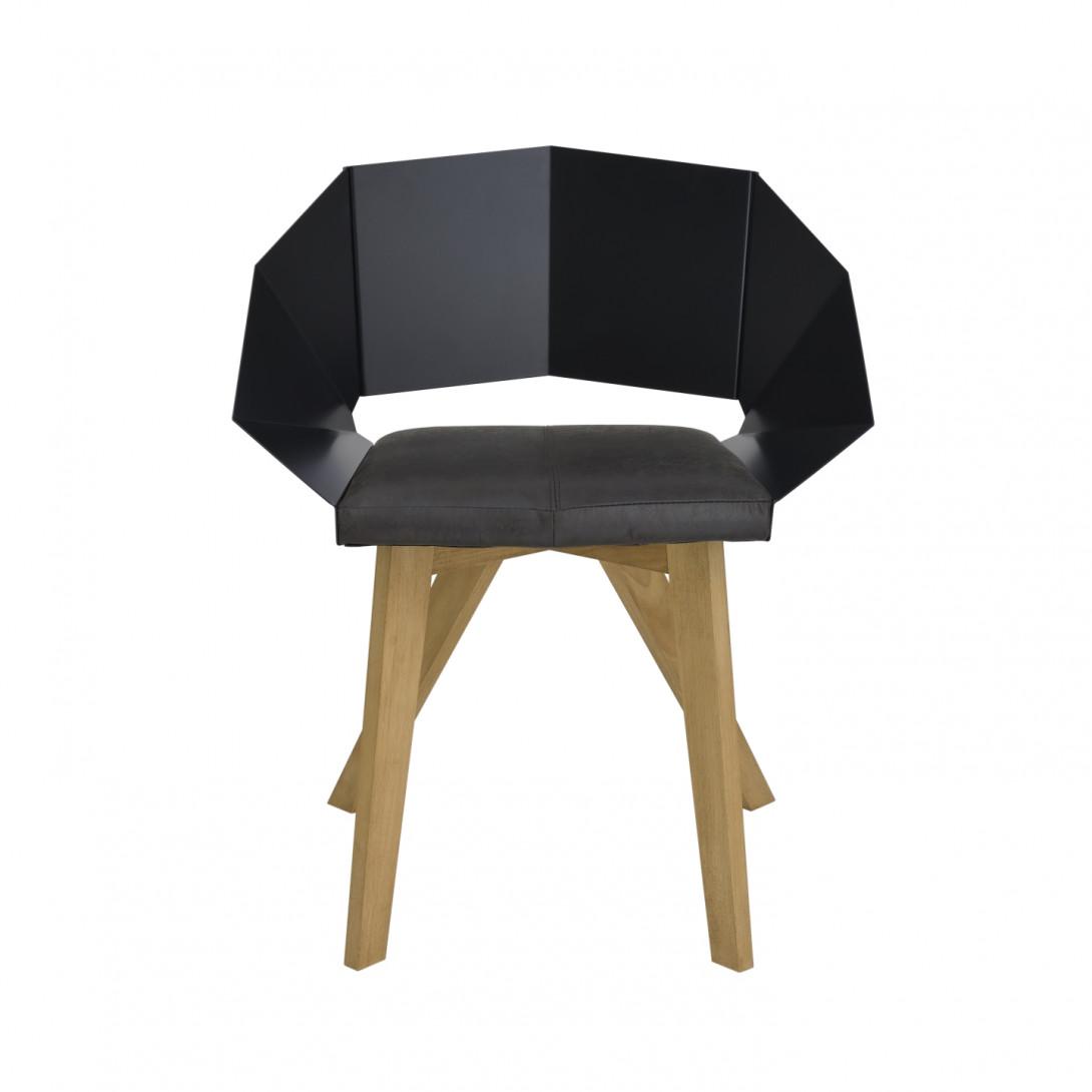 Krzesło KNIGHT na drewnianych nogach czarne FST0381 - 1