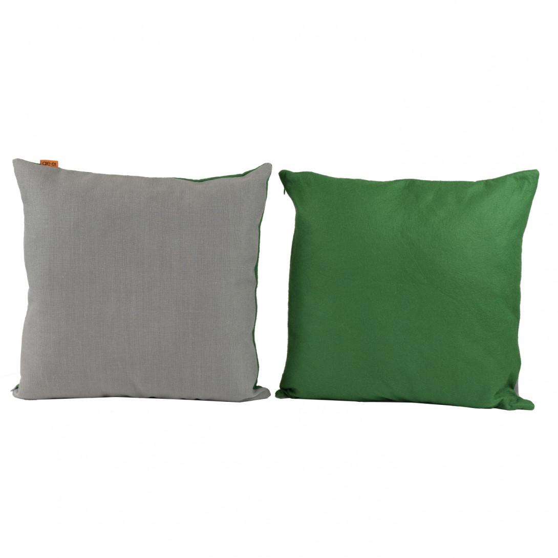 Dwukolorowa poduszka dekoracyjna DUO  szaro-zielona APL0160