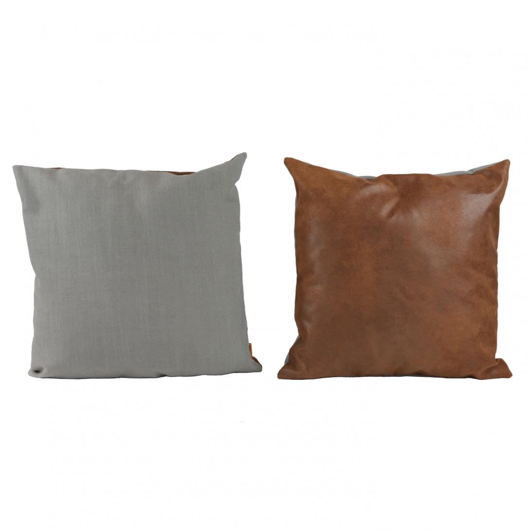Dwukolorowa poduszka dekoracyjna DUO szaro-brązowa APL0161