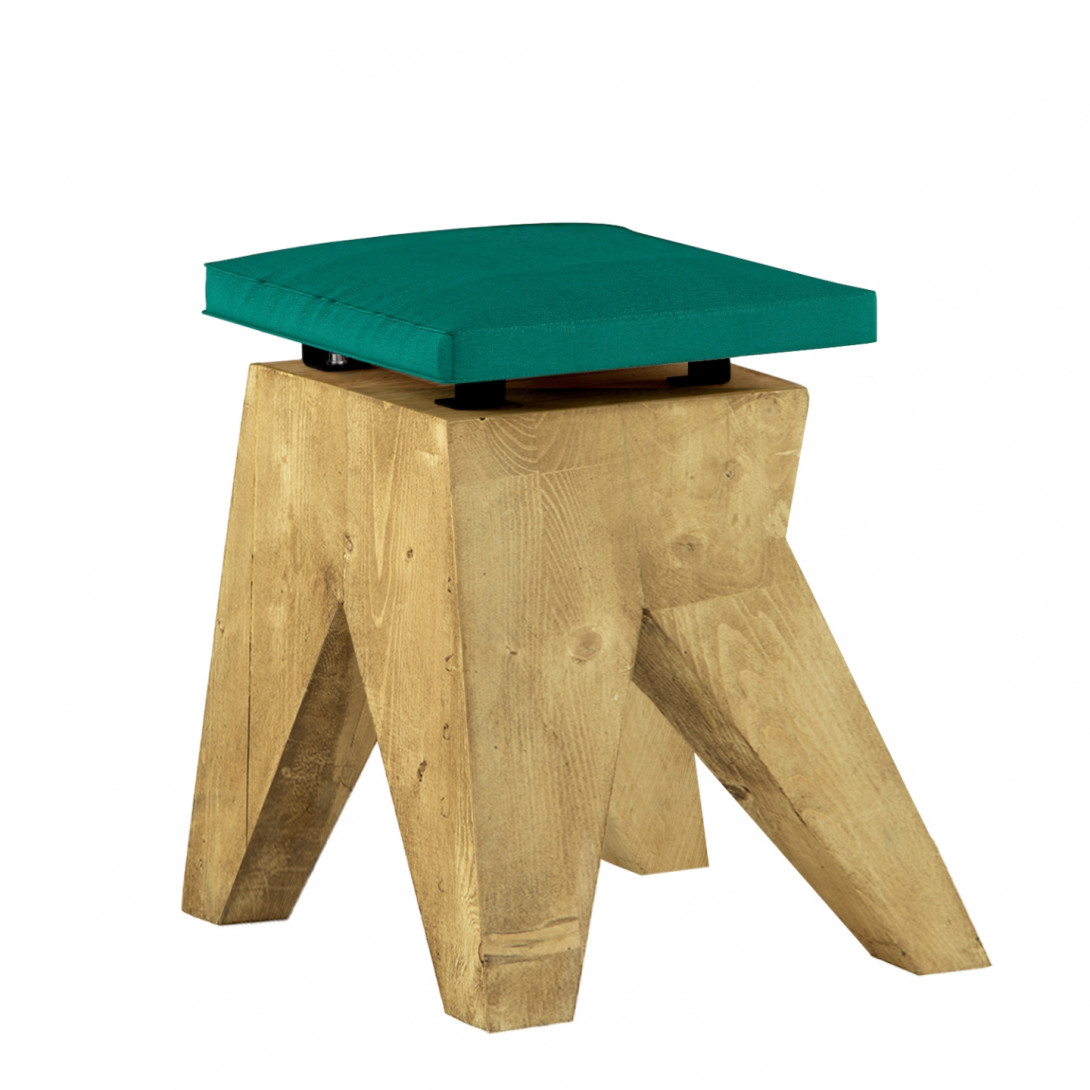 LOW stool with velvet turquoise seat FST0432 - 10