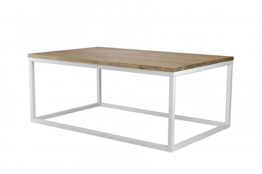Stolik kawowy drewniany na białej ramie FRAMED FCT0052