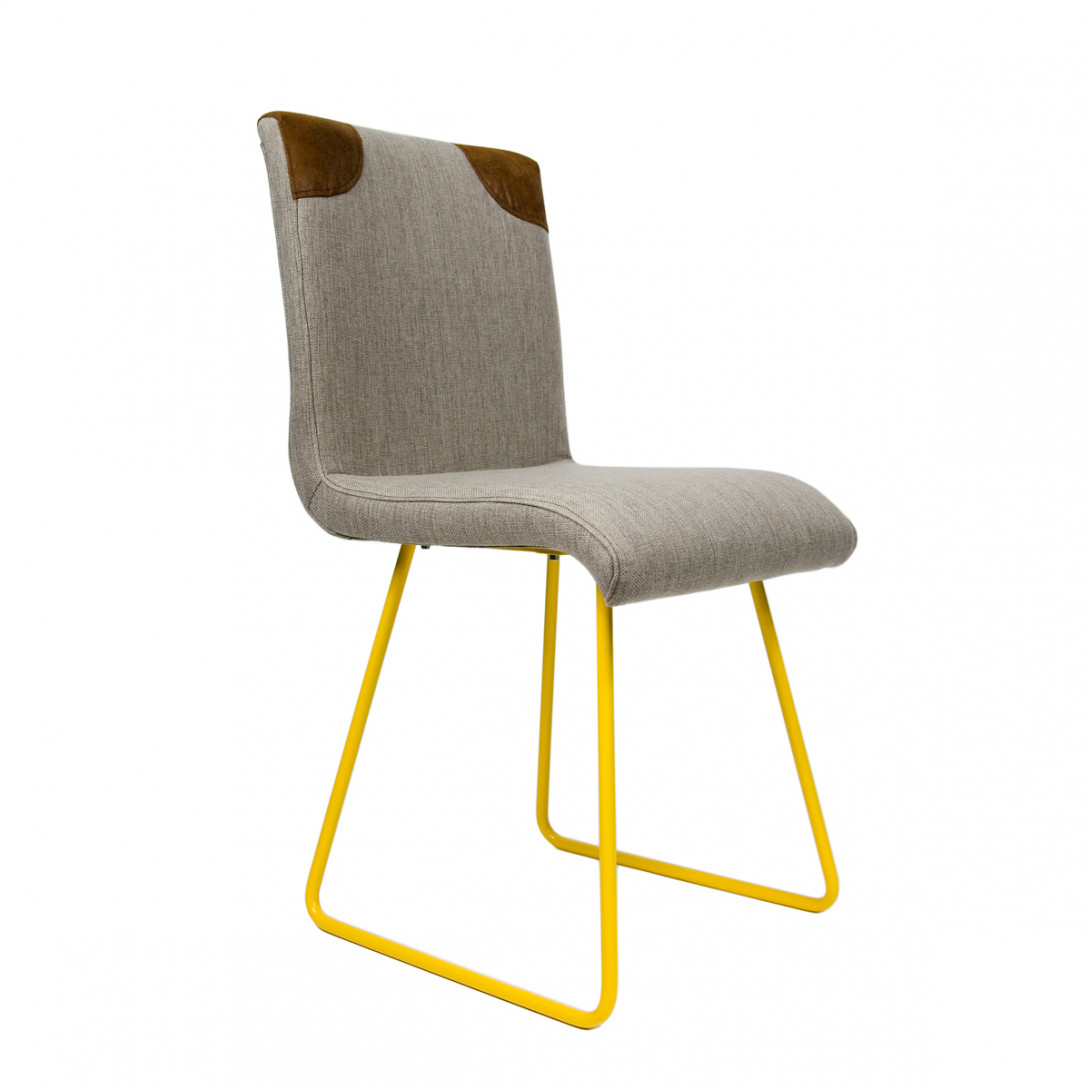 Chair HANDY on yellow skids FST0020 gray/brown - gie el