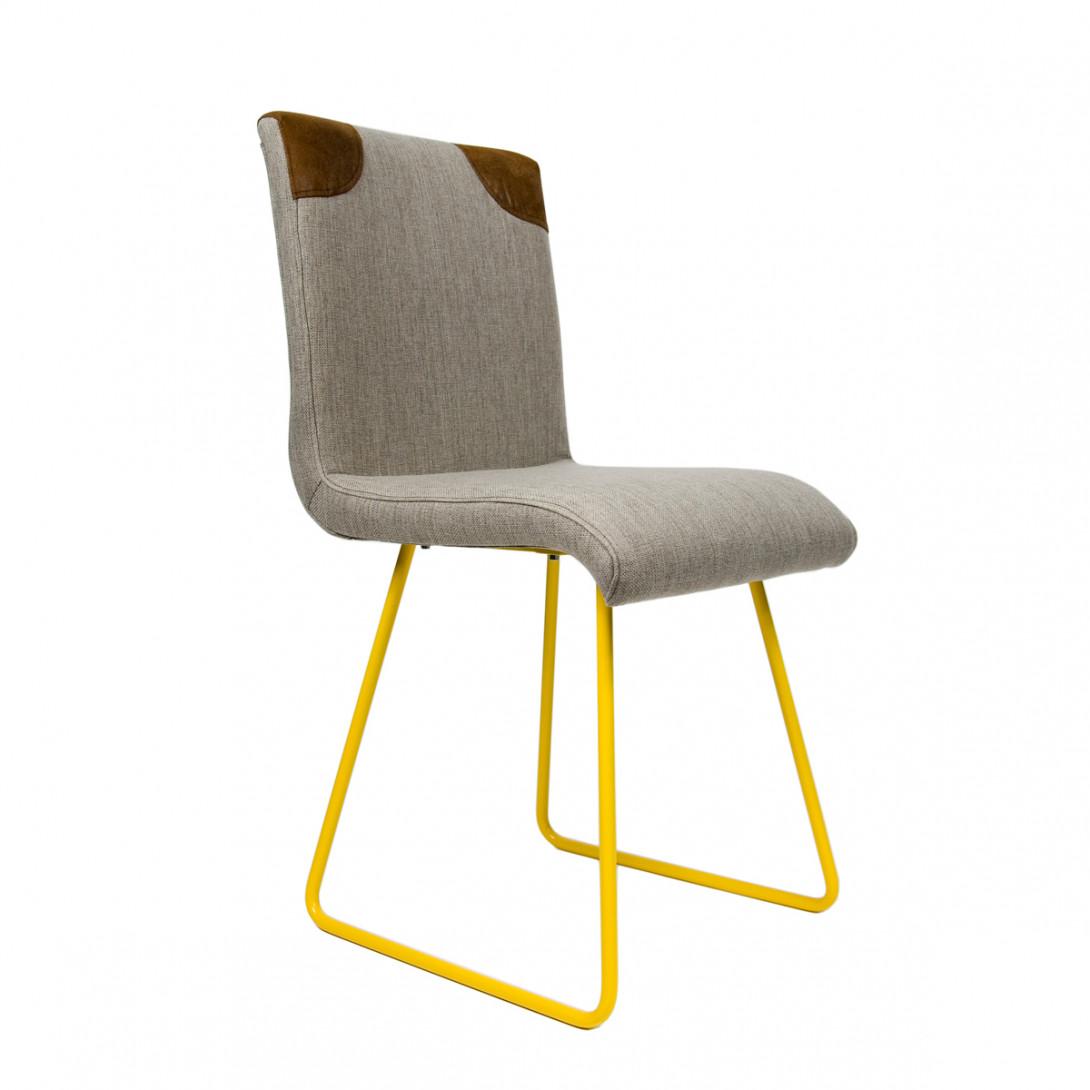 Krzesło na żółtych stalowych płozach HANDY szary/brązowy FST0020