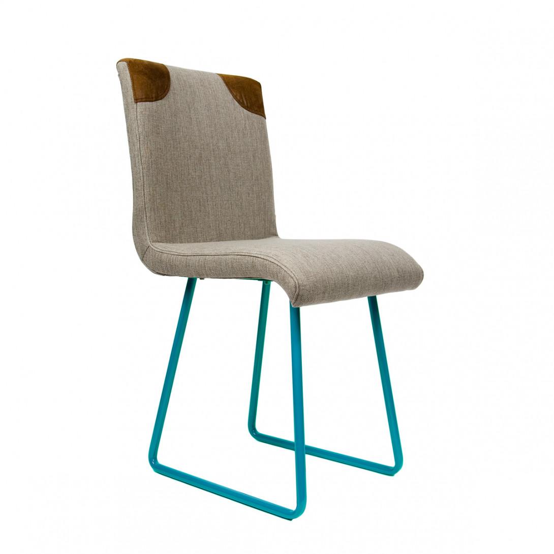 Krzesło na turkusowych stalowych pozach HANDY szary/brązowy FST0022