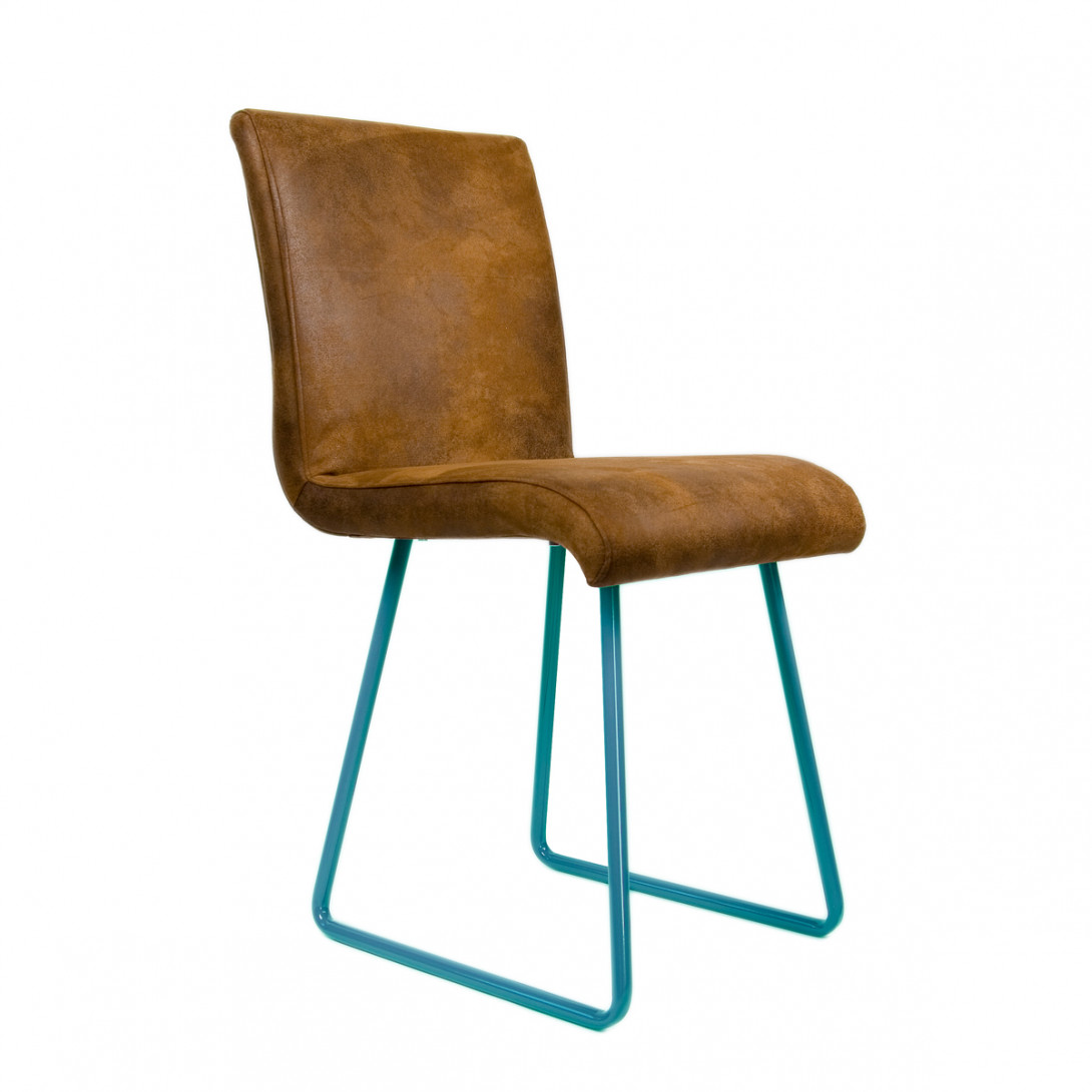 Brown chair on turquoise skids BROWNIE FST0032