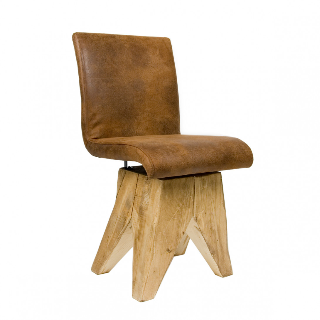 Brown chair BROWNIE on wooden base FST0040