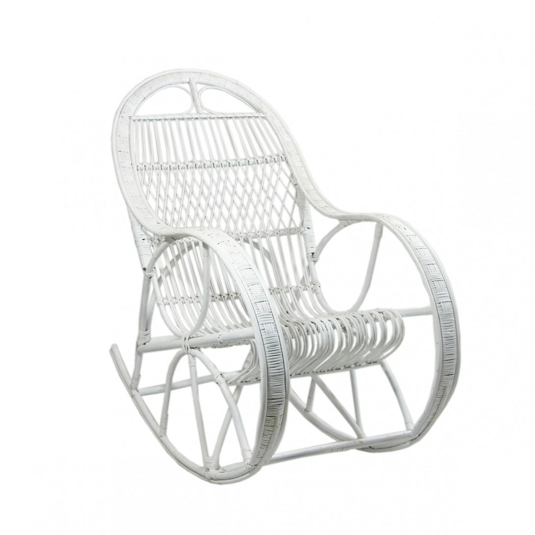 Fotel bujany wiklinowy SNAIL biały FST0071