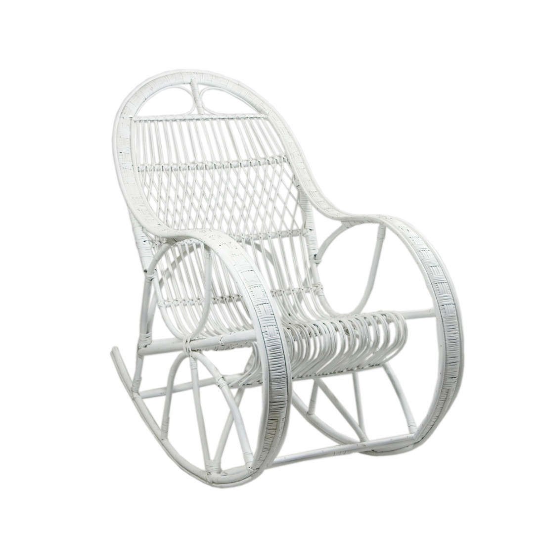 Wicker rocking chair SNAIL white FST0071