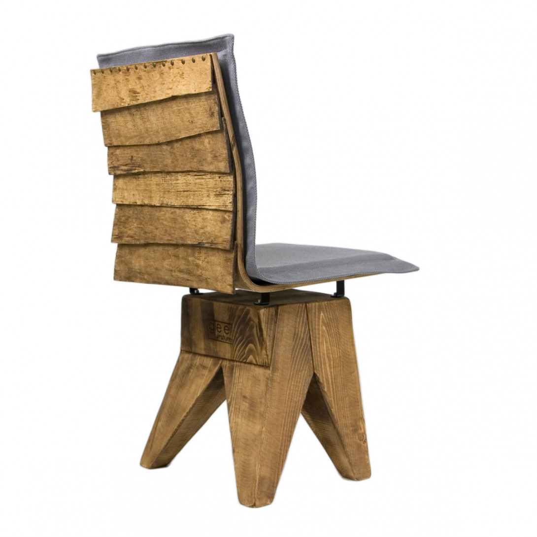 Stool with wooden backrest SHINGLE FST0161 gray - gie el