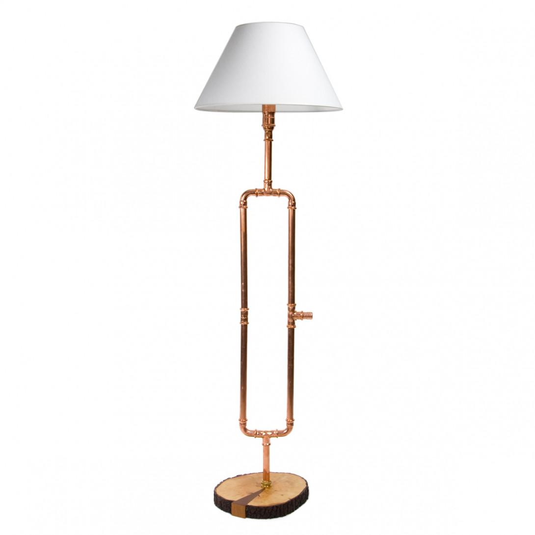 Miedziana lampa podłogowa z abażurem PORTAL II LGH0010