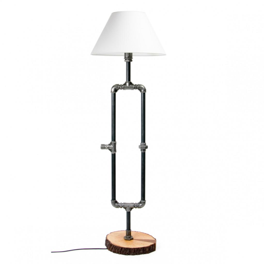 Stalowa lampa podłogowa z abażurem PORTAL I LGH0020