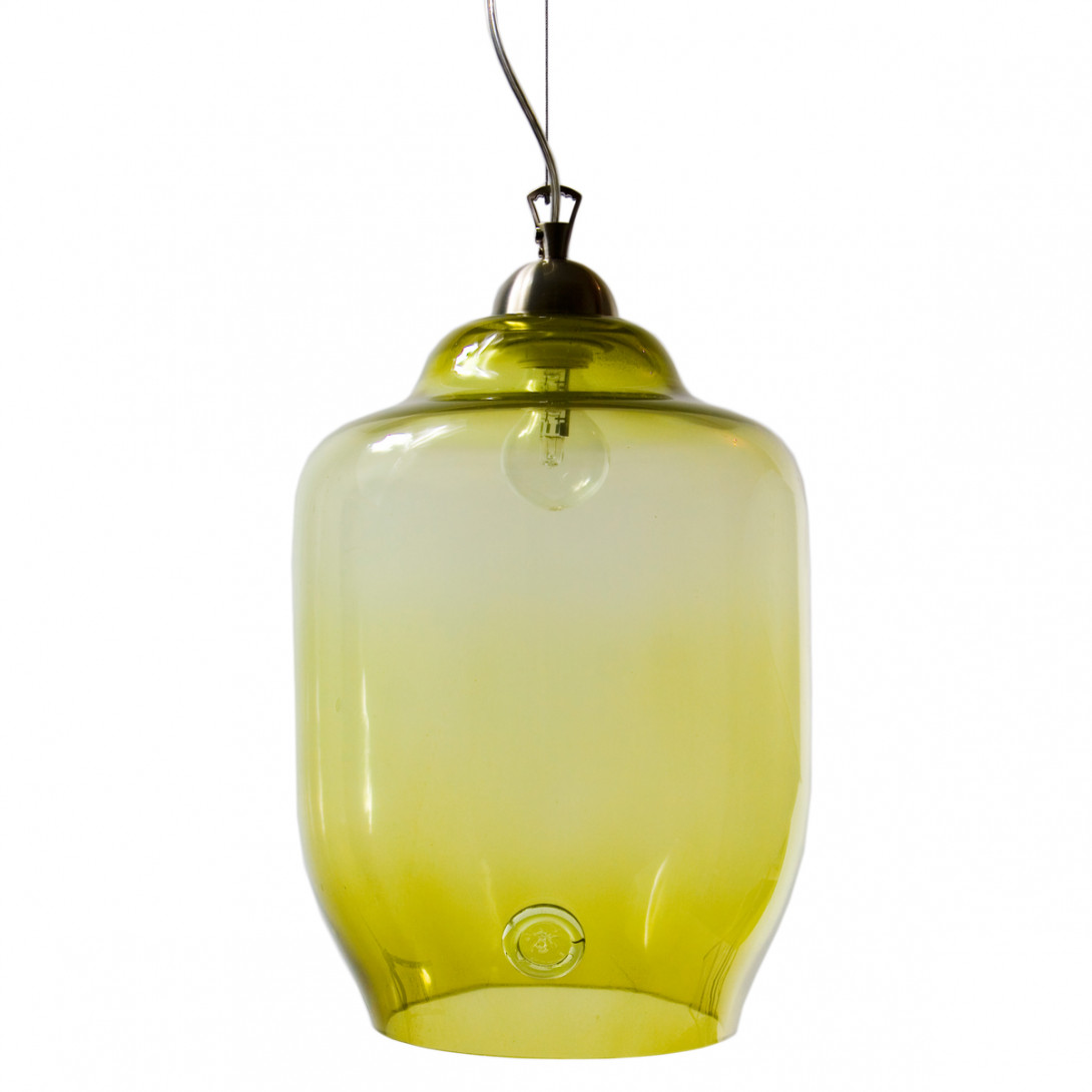 Glass pendant lamp BEE LGH0102 olive green