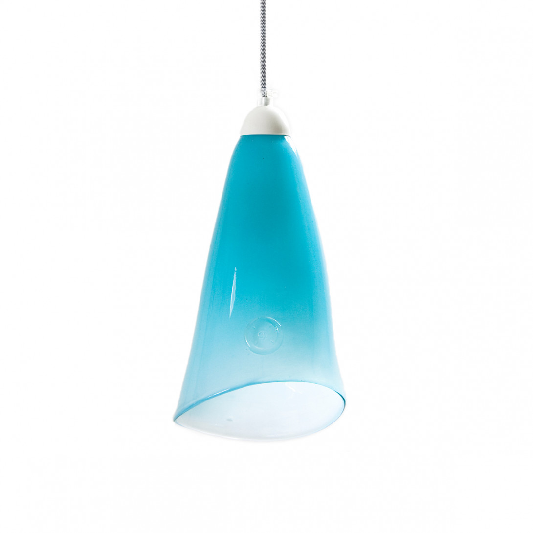 Glass pendant lamp HORN pastel turquoise LGH0261