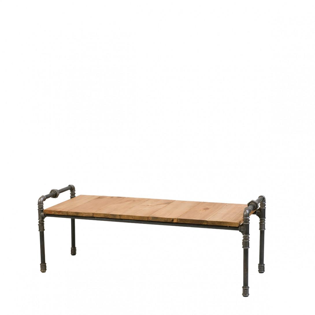 Ława drewniana ze stalowych rurek LUIGI FUR0040