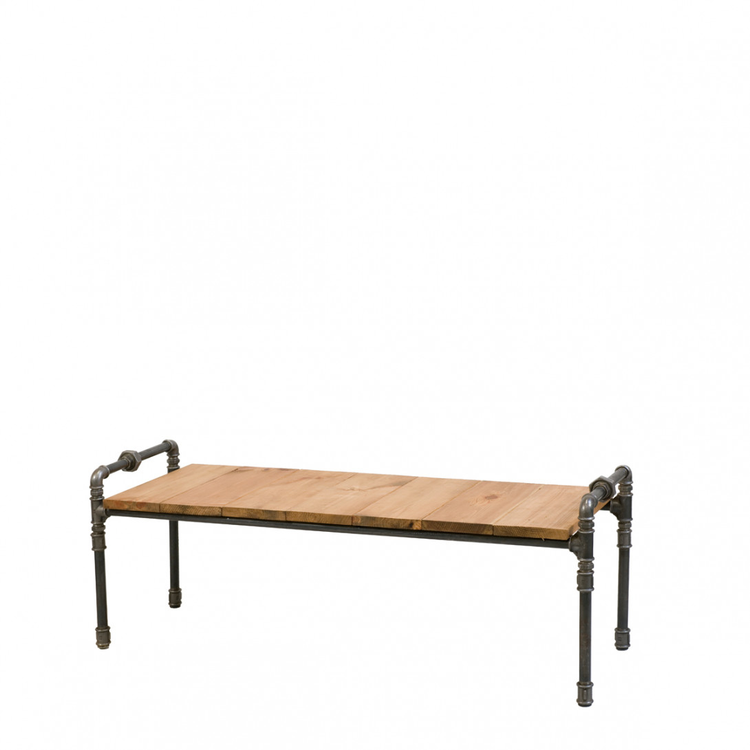 Steel pipe wooden bench LUIGI FUR0040