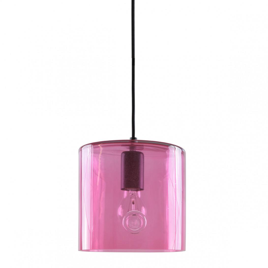 Lampa wisząca szklana NEO I różowa LGH0422