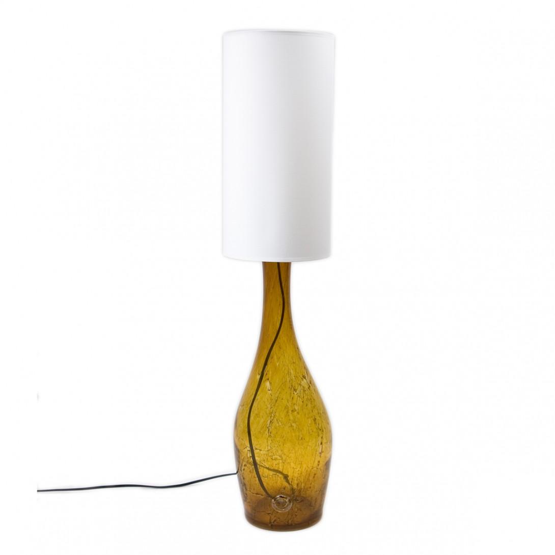 Lampa stołowa szklana miodowa z abażurem ANGEL LGH0170