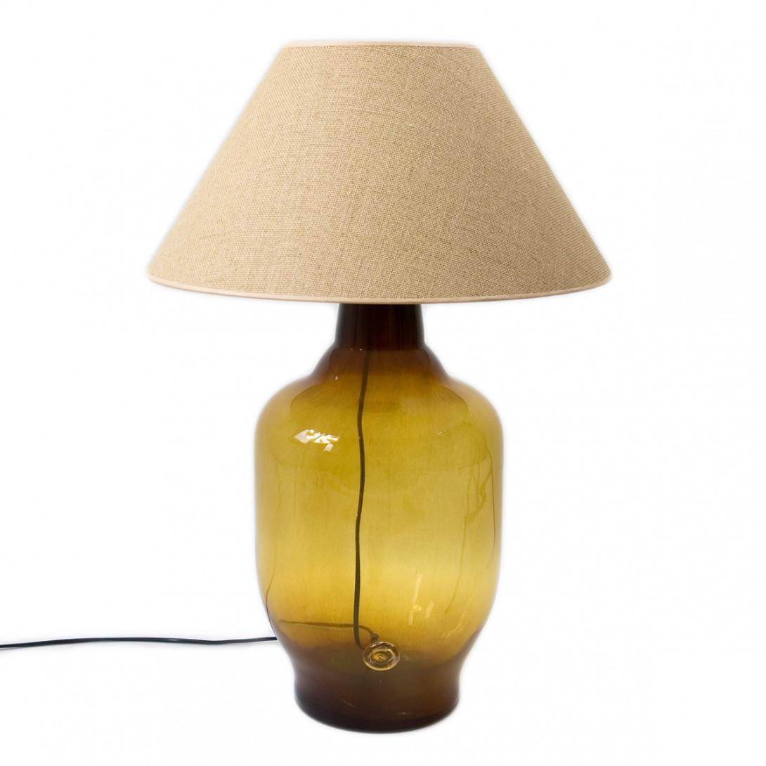 Lampa stołowa szklana miodowa z abażurem BEE LGH0180