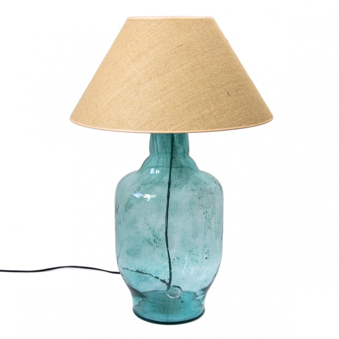 Lampa stołowa szklana turkusowa z abażurem BEE LGH0181