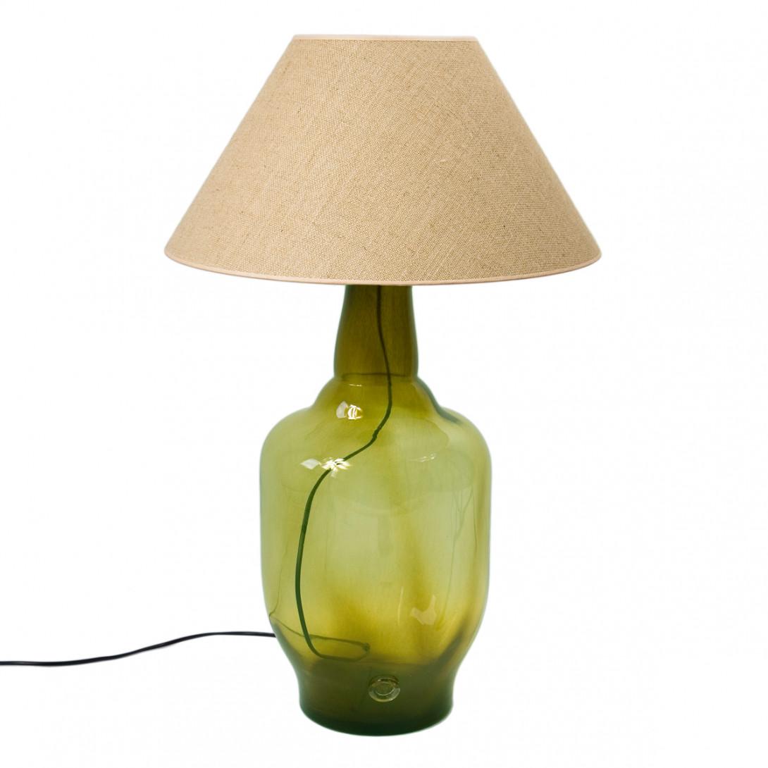 Lampa stołowa szklana oliwkowa z abażurem BEE LGH0182